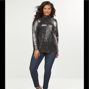 BNWT SIZE 26 LANE BRYANT SEQUIN SHIRT TOP BLOUSE